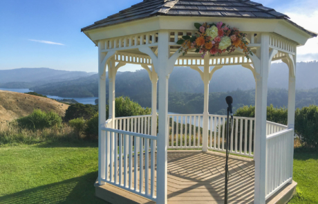 Beautiful wedding gazebo at sunset